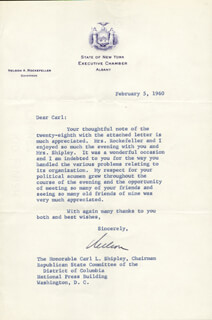 Autographs: VICE PRESIDENT NELSON A. ROCKEFELLER - TYPED LETTER SIGNED 02/05/1960