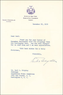 VICE PRESIDENT NELSON A. ROCKEFELLER - TYPED LETTER SIGNED 12/23/1959