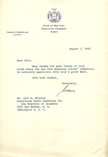 VICE PRESIDENT NELSON A. ROCKEFELLER - TYPED LETTER SIGNED 08/01/1962