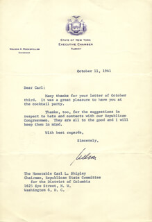 Autographs: VICE PRESIDENT NELSON A. ROCKEFELLER - TYPED LETTER SIGNED 10/11/1961