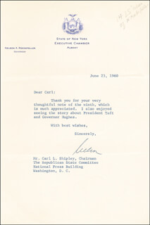 Autographs: VICE PRESIDENT NELSON A. ROCKEFELLER - TYPED LETTER SIGNED 06/23/1960