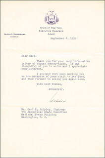 Autographs: VICE PRESIDENT NELSON A. ROCKEFELLER - TYPED LETTER SIGNED 09/04/1959