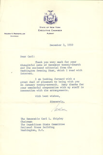 VICE PRESIDENT NELSON A. ROCKEFELLER - TYPED LETTER SIGNED 12/03/1959
