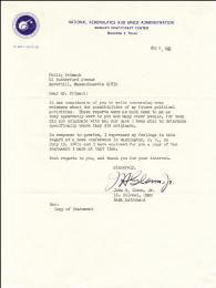 Autographs: JOHN GLENN - TYPED LETTER SIGNED 08/09/1963