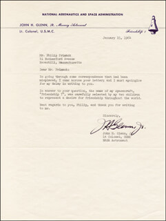 Autographs: JOHN GLENN - TYPED LETTER SIGNED 01/15/1964
