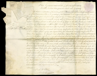 Autographs: THOMAS MIFFLIN - DOCUMENT DOUBLE SIGNED 12/02/1793 CO-SIGNED BY: ALEXANDER J. DALLAS