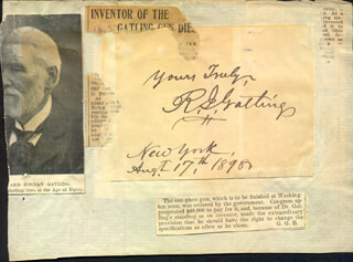 RICHARD J. GATLING - AUTOGRAPH SENTIMENT SIGNED 08/17/1898