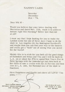 SAMMY CAHN - TYPED LETTER SIGNED 12/21/1974