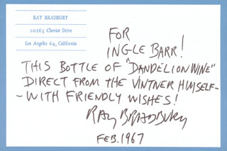 RAY BRADBURY - AUTOGRAPH NOTE SIGNED 2/67