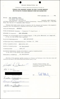 CHAMBERS BROTHERS - CONTRACT SIGNED 10/13/1964 CO-SIGNED BY: CHAMBERS BROTHERS (JOSEPH CHAMBERS), CHAMBERS BROTHERS (LESTER CHAMBERS), CHAMBERS BROTHERS (GEORGE E. CHAMBERS), CHAMBERS BROTHERS (WILLIE M. CHAMBERS)