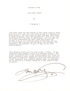 TOM WOLFE - TYPESCRIPT SIGNED
