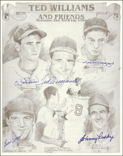 TED WILLIAMS - ILLUSTRATION SIGNED CIRCA 1990 CO-SIGNED BY: DOM DIMAGGIO, JOHNNY PESKY, EDDIE PELLAGRINI, BOBBY DOERR