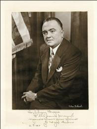 J. EDGAR HOOVER - INSCRIBED PHOTOGRAPH MOUNT SIGNED 06/07/1957  - HFSID 259236