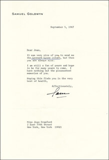 SAMUEL GOLDWYN - TYPED LETTER SIGNED 09/05/1967
