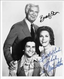 BARNABY JONES TV CAST - AUTOGRAPHED SIGNED PHOTOGRAPH CO-SIGNED BY: LEE MERIWETHER, MARK SHERA, BUDDY EBSEN