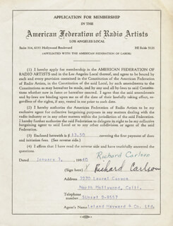 RICHARD CARLSON - APPLICATION SIGNED 01/03/1940