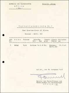 GENERAL ERWIN THE DESERT FOX ROMMEL - DOCUMENT SIGNED 11/30/1941