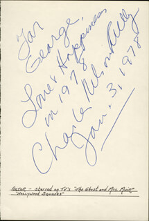 CHARLES NELSON REILLY - AUTOGRAPH NOTE SIGNED 01/03/1978