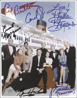 THE POSEIDON ADVENTURE MOVIE CAST - AUTOGRAPHED SIGNED PHOTOGRAPH CO-SIGNED BY: PAMELA SUE MARTIN, ERNEST BORGNINE, GENE HACKMAN, RODDY McDOWALL, RED BUTTONS, STELLA STEVENS, CAROL LYNLEY