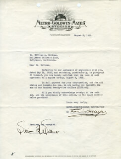 LOUIS B. MAYER - DOCUMENT SIGNED 08/08/1925 CO-SIGNED BY: WILLIAM A. WELLMAN