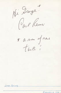 CARL REINER - AUTOGRAPH NOTE SIGNED