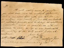 BRIGADIER GENERAL WILLIAM PAULDING JR. - AUTOGRAPH LETTER SIGNED 03/21/1823
