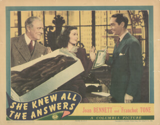 SHE KNEW ALL THE ANSWERS MOVIE CAST - LOBBY CARD UNSIGNED (USA) 1941