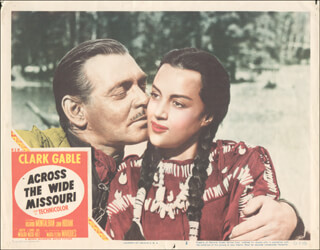 Autographs: ACROSS THE WIDE MISSOURI MOVIE CAST - LOBBY CARD UNSIGNED (USA) 1951