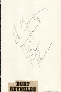 BURT REYNOLDS - AUTOGRAPH NOTE SIGNED  - HFSID 25934