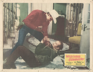 WELLS FARGO GUNMASTER MOVIE CAST - LOBBY CARD UNSIGNED (USA) 1951