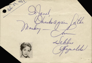 DEBBIE REYNOLDS - AUTOGRAPH NOTE SIGNED CIRCA 1951