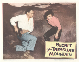 SECRET OF TREASURE MOUNTAIN MOVIE CAST - LOBBY CARD UNSIGNED (USA) 1956