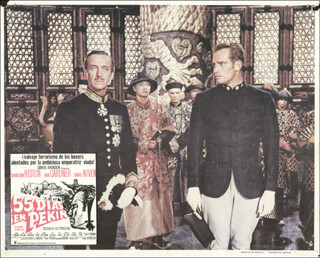 Autographs: 55 DAYS AT PEKING MOVIE CAST - LOBBY CARD UNSIGNED (MEX) 1963