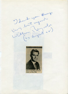 WILLIAM REYNOLDS - AUTOGRAPH NOTE SIGNED 08/23/1968