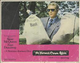 THOMAS CROWN AFFAIR MOVIE CAST - LOBBY CARD UNSIGNED (USA) 1968