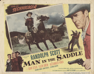 MAN IN THE SADDLE MOVIE CAST - LOBBY CARD UNSIGNED (USA) 1951