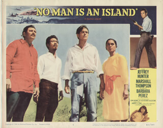 NO MAN IS AN ISLAND MOVIE CAST - LOBBY CARD UNSIGNED (USA) 1962