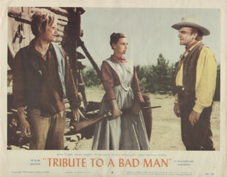 TRIBUTE TO A BAD MAN MOVIE CAST - LOBBY CARD UNSIGNED (USA) 1956