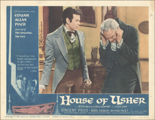 HOUSE OF USHER MOVIE CAST - LOBBY CARD UNSIGNED (USA) 1962