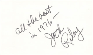 JACK RILEY - AUTOGRAPH NOTE SIGNED 1976
