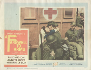 A FAREWELL TO ARMS MOVIE CAST - LOBBY CARD UNSIGNED (USA) 1957