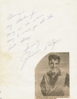 JIMMIE F. RODGERS - AUTOGRAPH NOTE SIGNED CO-SIGNED BY: MARILYN O'CONNOR, DOUG WILSON, RICHARD LEWELLEN, IVAN TRIESAULT