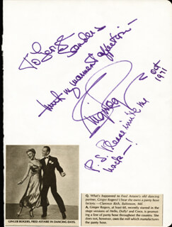 GINGER ROGERS - AUTOGRAPH NOTE SIGNED 10/1971