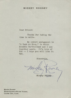 MICKEY ROONEY - TYPED LETTER SIGNED