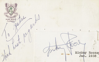 MICKEY ROONEY - AUTOGRAPH NOTE SIGNED