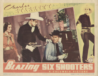 BLAZING SIX SHOOTERS MOVIE CAST - LOBBY CARD UNSIGNED (USA) 1940