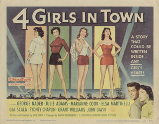 FOUR GIRLS IN TOWN MOVIE CAST - LOBBY CARD UNSIGNED (USA) 1956