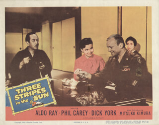 THREE STRIPES IN THE SUN MOVIE CAST - LOBBY CARD UNSIGNED (USA) 1955