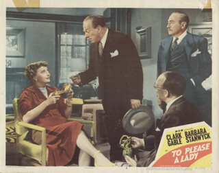 TO PLEASE A LADY MOVIE CAST - LOBBY CARD UNSIGNED (USA) 1950