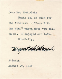 MARGARET MITCHELL - TYPED LETTER SIGNED 08/27/1941